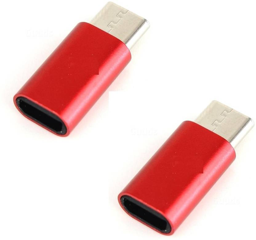 BB4 SET OF 2 MICRO USB TO TYPE C CONVERTER SYNC AND CHARGE OTG USB Adapter Red