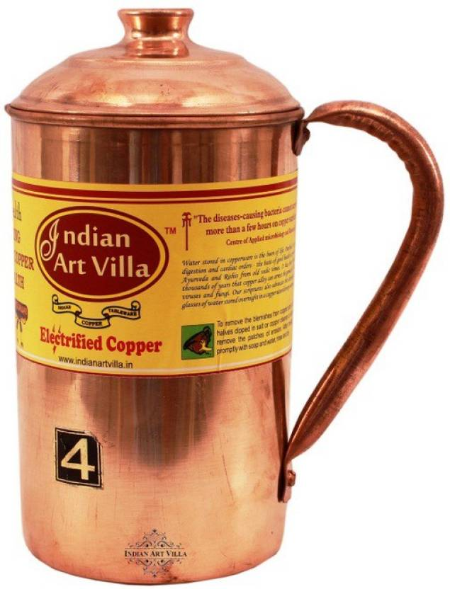Indian Art Villa Copper Water Jug 1200 ML - Storage Serving Water Benefit Yoga Ayurveda Water Jug