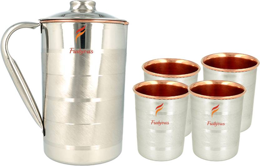 Frabjous Pure Copper With Silver Finish Jug Glass Set Price In India