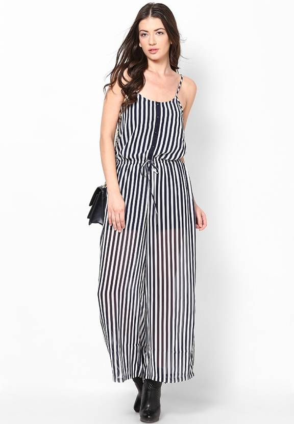 58aa47a0fdc8 Only Striped Women s Jumpsuit - Buy Black Iris Only Striped Women s Jumpsuit  Online at Best Prices in India