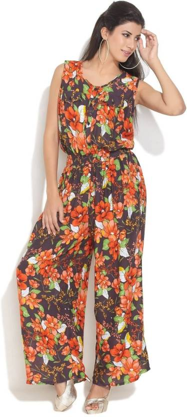 de92562cd2 Hot Berries Floral Print Women s Jumpsuit - Buy Black Hot Berries ...