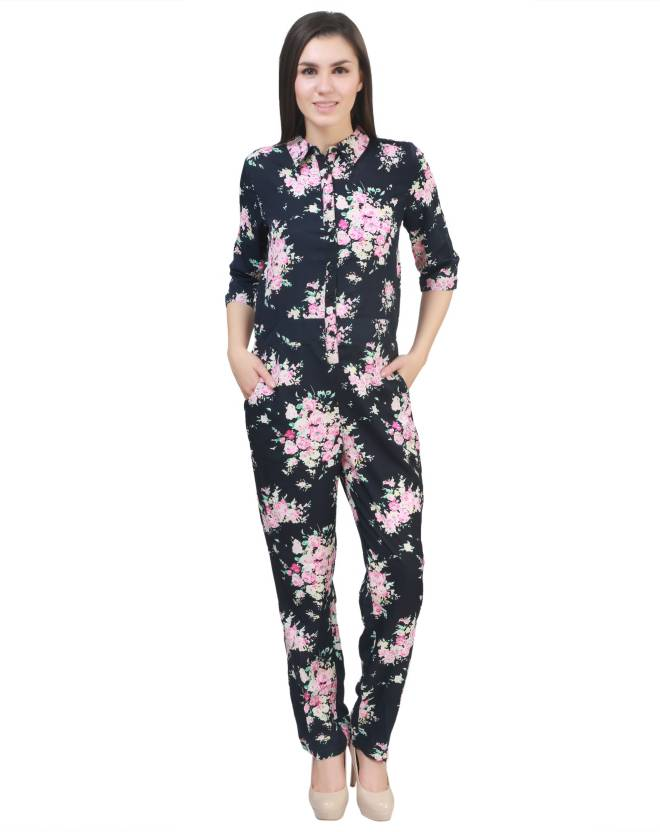 c1106bf3c7d8 MansiCollections Floral Print Women s Jumpsuit - Buy Dark Blue  MansiCollections Floral Print Women s Jumpsuit Online at Best Prices in  India