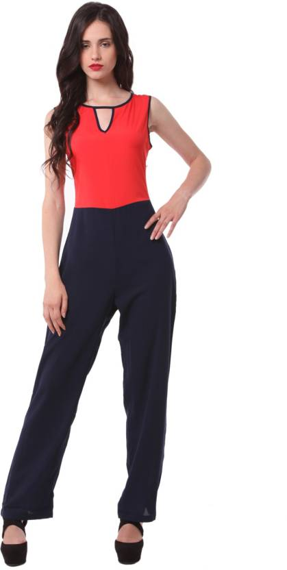 3a458ab30826 Eyelet Printed Women s Jumpsuit - Buy Red Eyelet Printed Women s Jumpsuit  Online at Best Prices in India