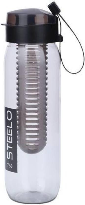 Steelo Sante Infuser Water Bottle 750 ml Bottle Pack of 1, Black