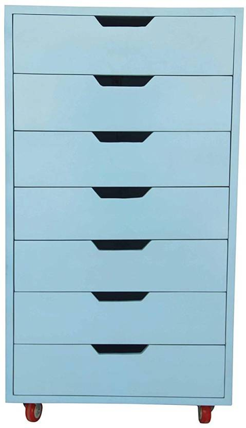 APRODZ Solid Wood Free Standing Chest of Drawers Finish Color   Blue APRODZ Cabinets   Drawers