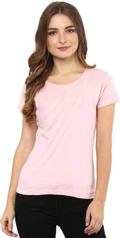 Bueno Life Solid Women Round Neck Pink T Shirt