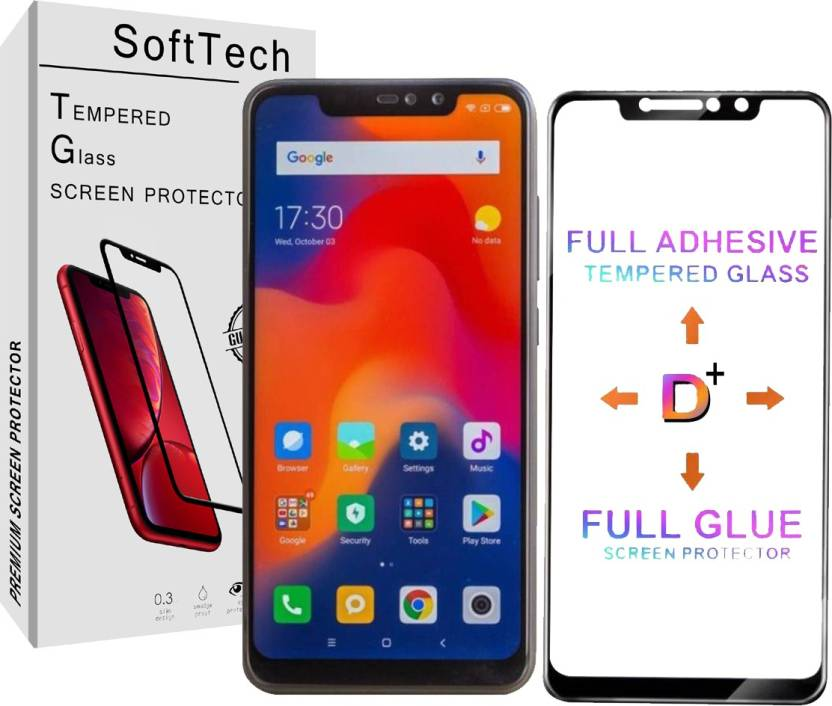 SoftTech Edge To Edge Tempered Glass for Mi Redmi Note 6 Pro Pack of 1