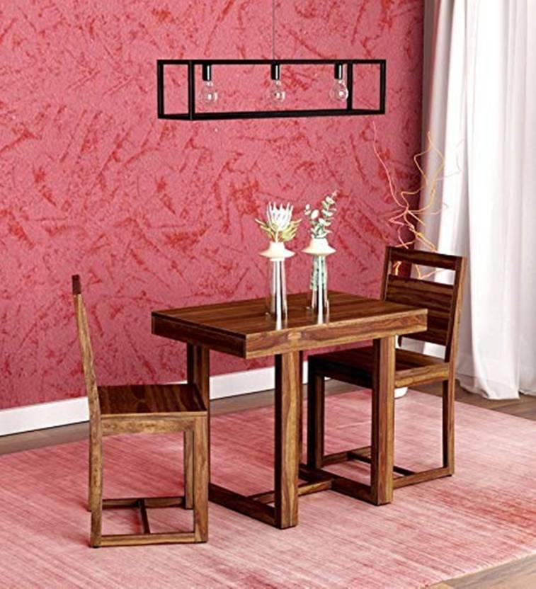 Divine Arts Sheesham Wood Solid Wood 2 Seater Dining Set Finish Color   Provincial Teak