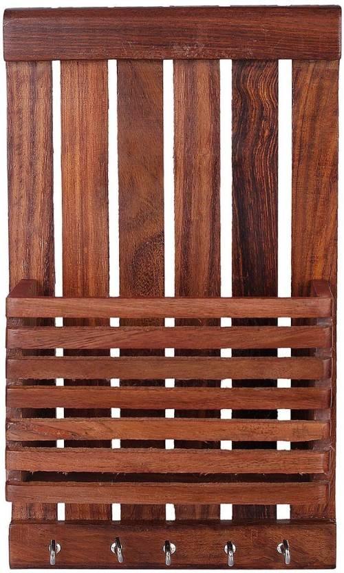 Woodykart Wood Key Holder 5 Hooks, Brown  Woodykart Key Holders