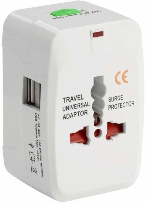 SUREELEE Multi plug Universal Worldwide Adaptor White