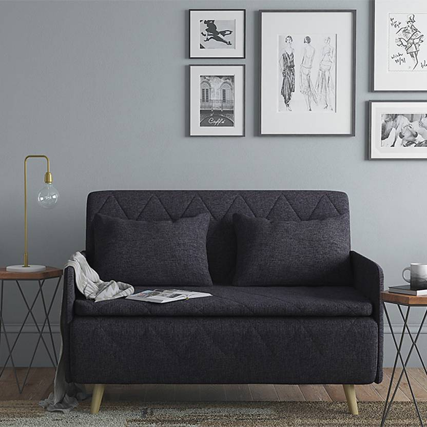 Urban Ladder Makati Single Solid Wood Sofa Bed Finish Color   Dark Grey Mechanism Type   Fold Out
