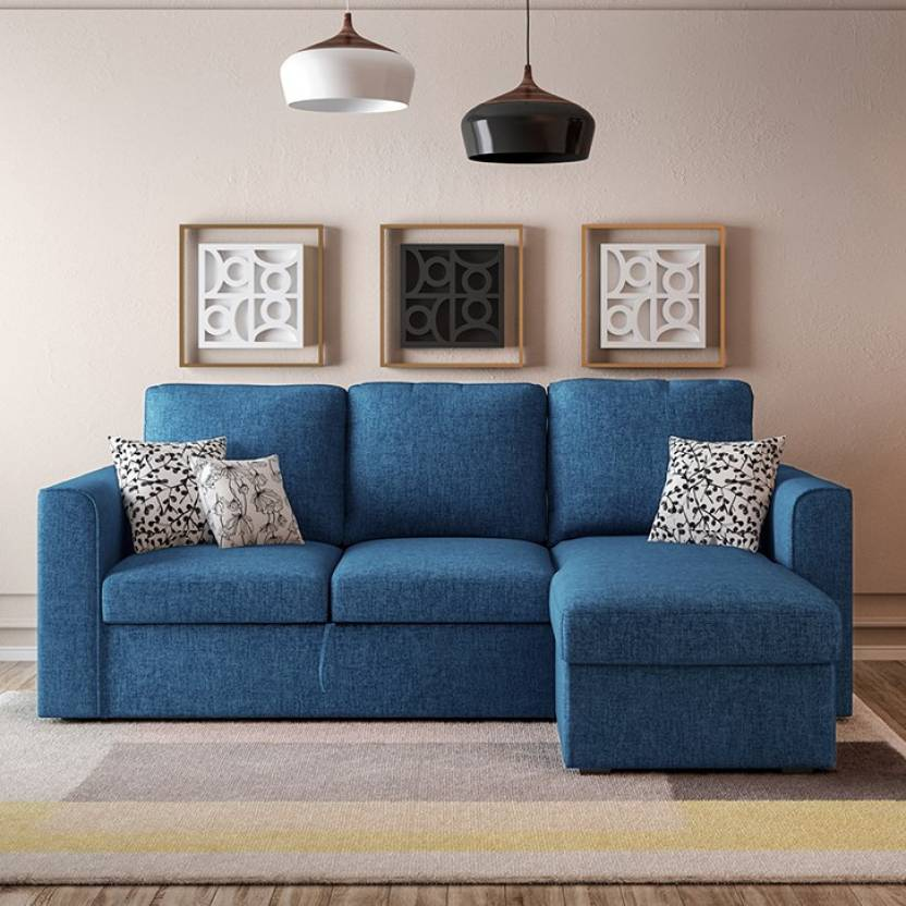 Urban Ladder Kowloon Sectional Sofa Cum Bed with Storage Double Fabric, Metal Sofa Bed Finish Color   Blue Mechanism Type   Fold Out