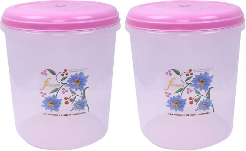 Kuber Industries Plastic 2 Pieces Multipurpose Storage Container 5000 ML  Pink    5000 ml Plastic Grocery Container Pack of 2, Pink