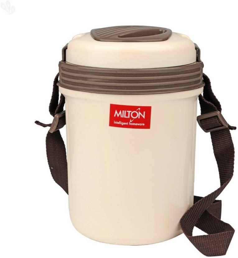 Milton Electron Plastic Tiffin, 300ml, Cream 3 Containers Lunch Box 300 ml