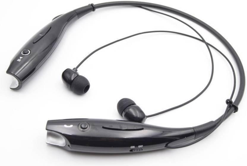 Delmohut Hbs 730 Neckband Wireless Headphones Bluetooth Headset Black, In the Ear