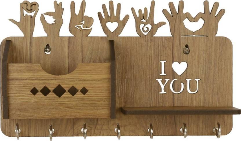 Sehaz Artworks Love Sign WT KeyHolder Wood Key Holder 7 Hooks, Beige