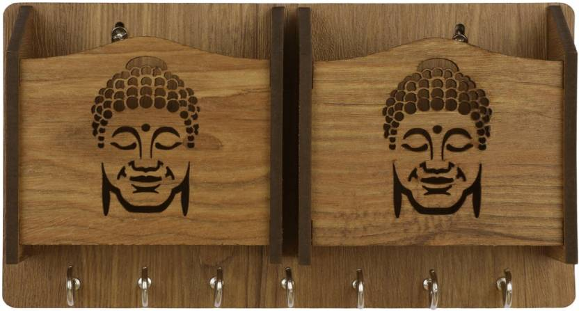Sehaz Artworks SmileBuddha WT KeyHolder Wood Key Holder 7 Hooks, Beige