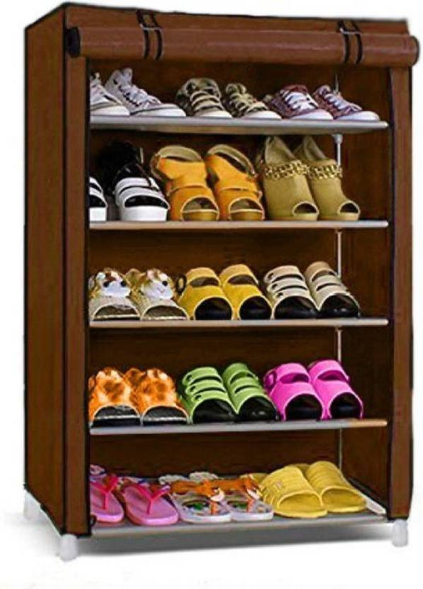 CMerchants CABINET 5LAYER Metal Collapsible Shoe Stand Brown, 5 Shelves