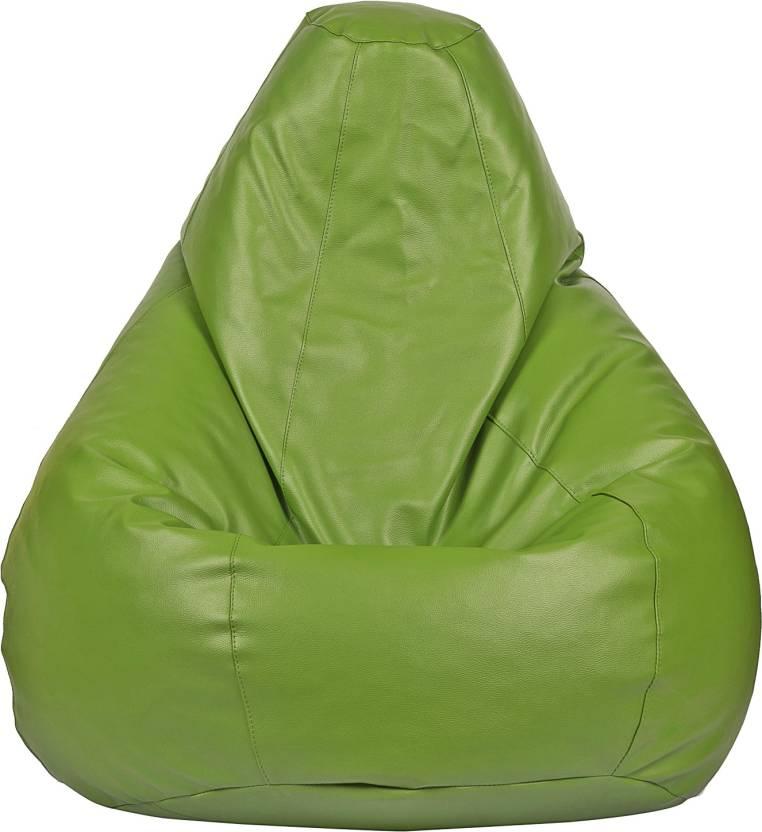 Beanskart XXXL  Filled   Teardrop Bean Bag With Bean Filling Green