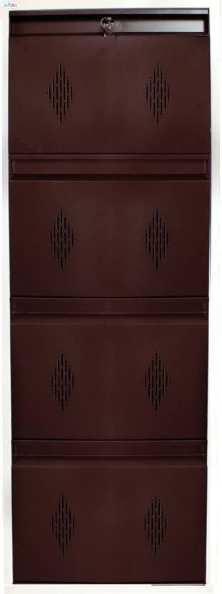 Meded Heavy Duty, Wall Mounted/ Floor Standing Steel Shoe Rack Metal Shoe Rack Brown, 4 Shelves