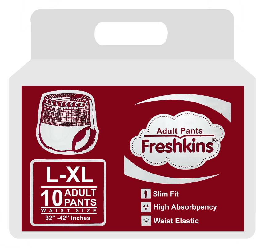 FRESHKINS Pant Style Adult Diapers   L   XL 10 Pieces