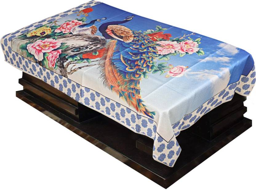 Kuber Industries Animal 4 Seater Table Cover Blue, Cotton