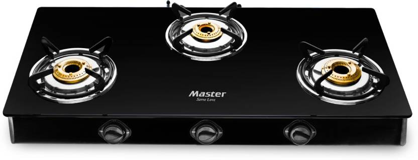 Master Carbon Stainless Steel, Glass Manual Gas Stove 3 Burners