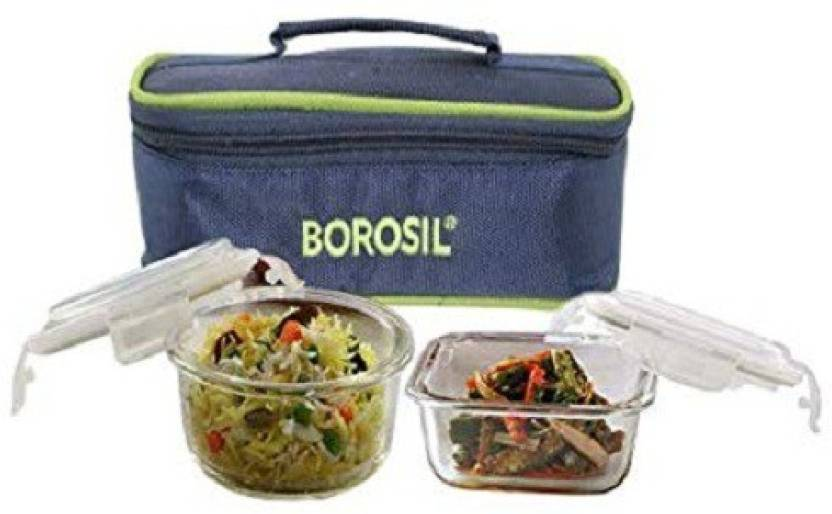 Borosil Microwavable Klip N Store Lunch Box  Set of 2 2 Containers Lunch Box 320 ml