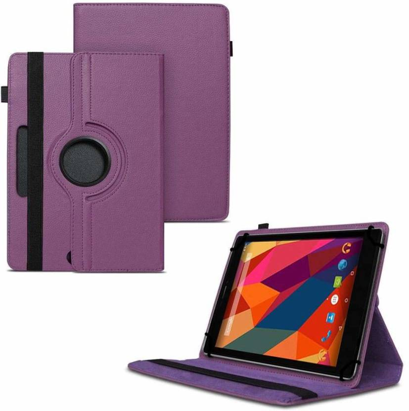 TGK Flip Cover for Micromax Canvas Tab P681 8 inch Tablet withRotating Leather Stand Case Purple, Shock Proof
