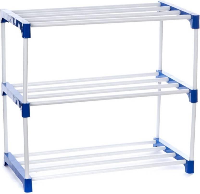 Novatic Plastic, Metal Shoe Stand White, 3 Shelves