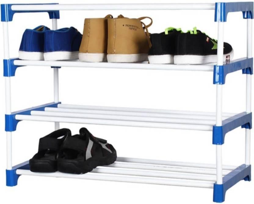 Novatic Plastic, Metal Shoe Stand White, 4 Shelves