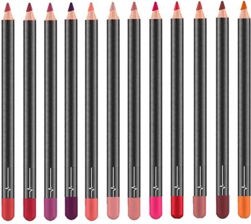 Nema Matte Smooth Lipliner Pencils  12 Color Set Multicolor