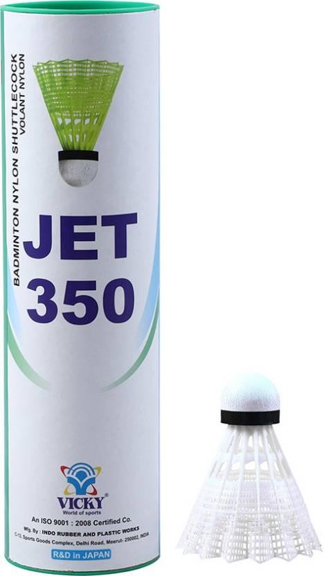 Vicky Jet 350 Nylon Suttlecock White Nylon Shuttle   White Slow, 75, Pack of 6
