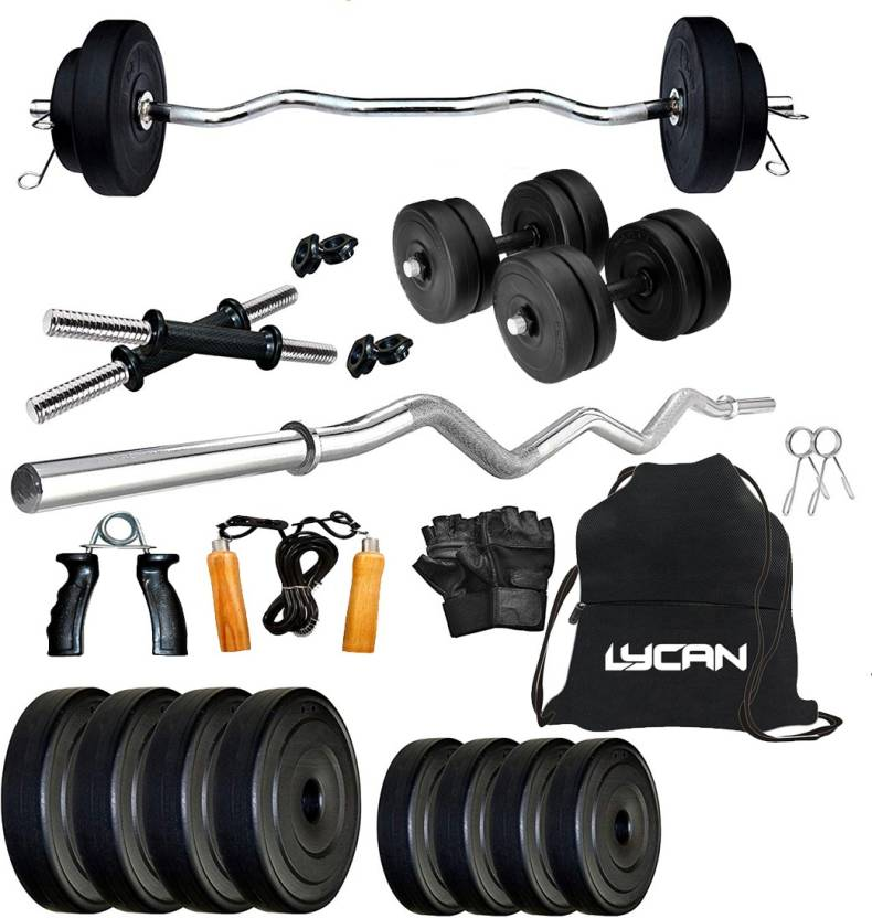 Lycan 20 kg 20 kg weight 3 feet Curl Rod Compleat Home Gym Combo