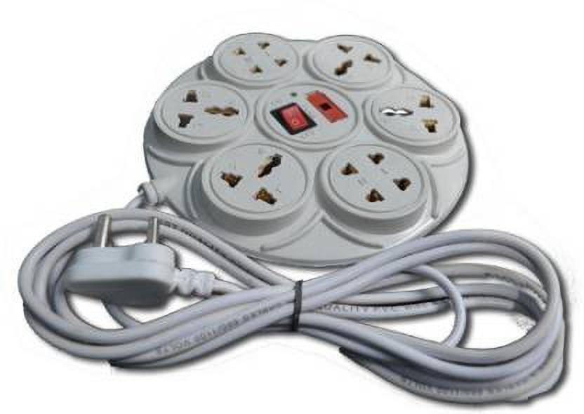 Sivansh White Color Round Shape 6 Socket Surge Protector 6 Socket Extension Boards White