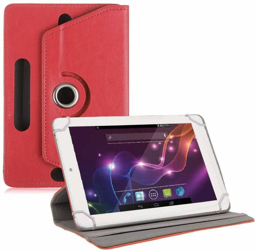 TGK Book Cover for Lava QPad e704 / Xtron Z704 Tablet 7 inch Red, Cases with Holder