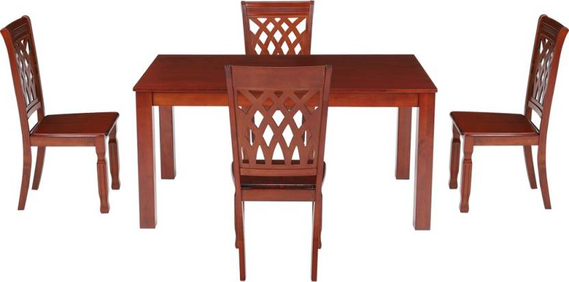 Woodness Solid Wood 4 Seater Dining Set Finish Color   Mahogany