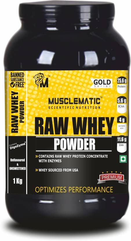 Musclematic Raw Whey Powder Whey Protein 1 kg, Unflavored