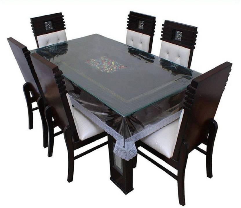 Panipat Textile Hub Solid 6 Seater Table Cover Transparent, PVC