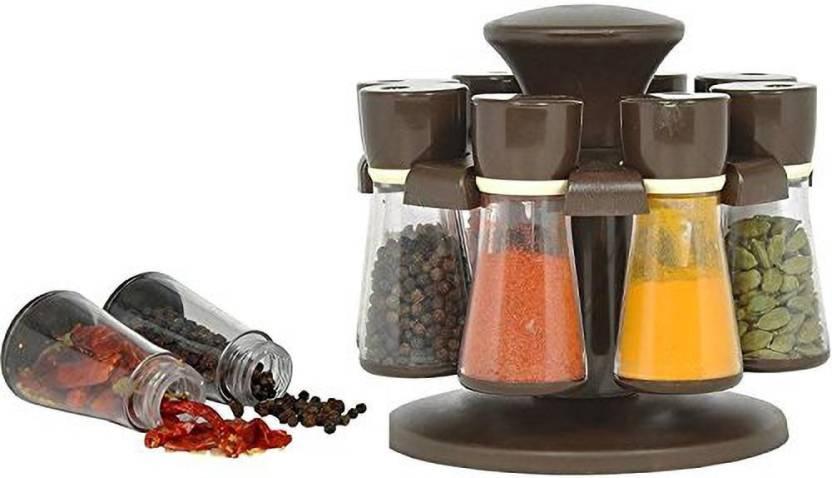 TRACEY Plastic 8 Jar Revolving Spice Rack Masala Box Condiment Set for Kitchen, Spice Container 1 Piece Condiment Set Plastic