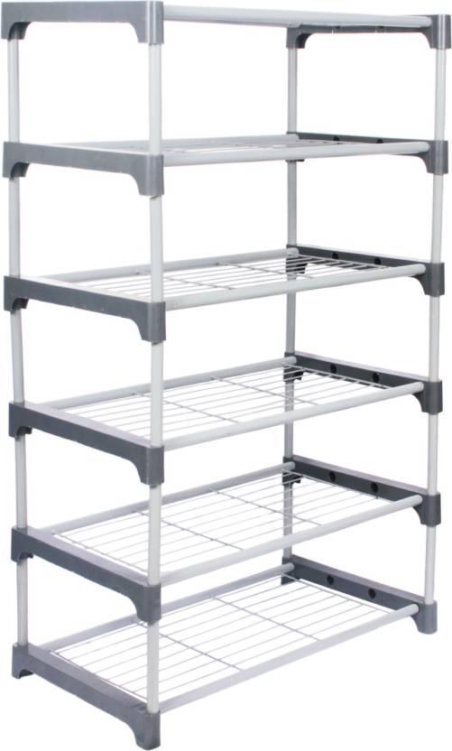 Ebee Metal Shoe Stand Grey, 6 Shelves