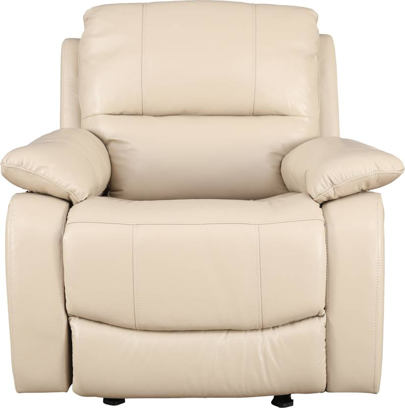 HomeTown Half leather Manual Recliner Finish Color   Beige