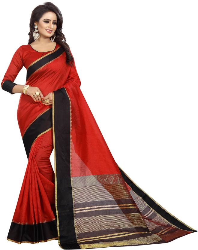 A to z-cart-women's-cotton-printed-saree ( plain-red-red-free-size)