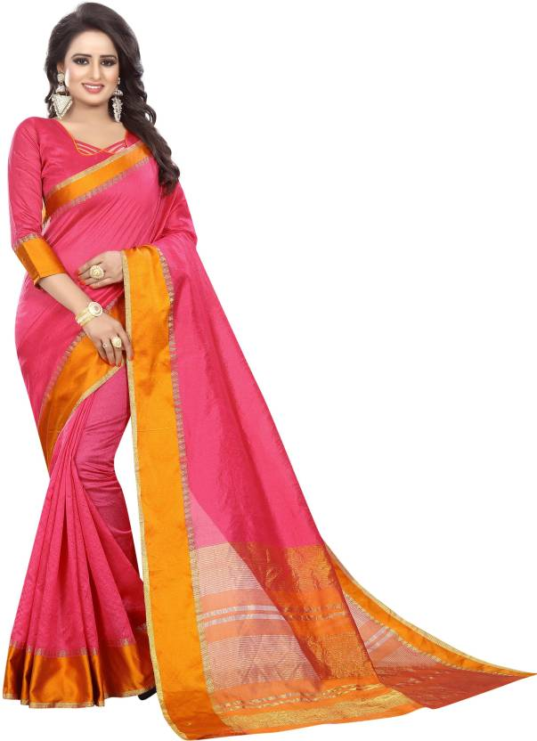 A to z-cart-women's-cotton-printed-saree( plain-pink-pink-free-size)