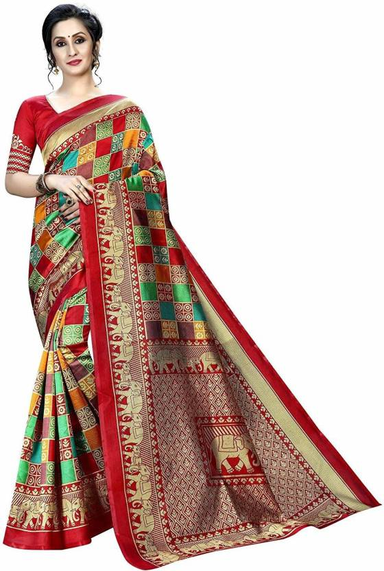 A to z-cart-women-s-art-silk-printed-saree ( chhota-hathi-red-red-free-size )