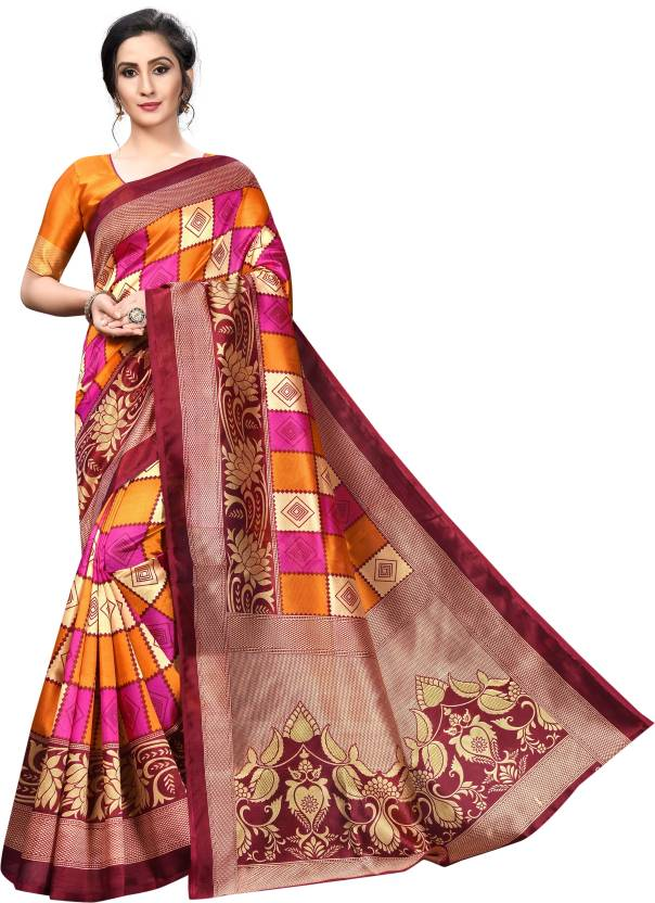 A to z-cart-women's-art-silk-printed-saree-lotus-squre-pink-mustred-mustard-free-size