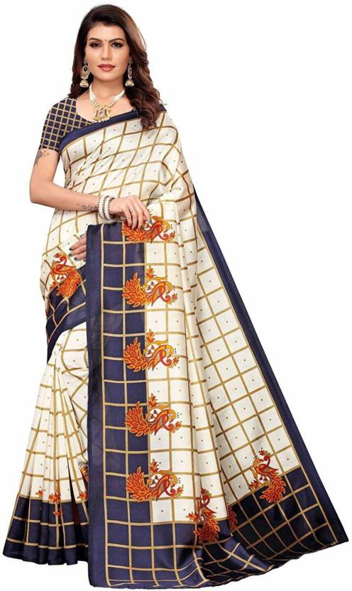 A to z-cart-women's-art-silk-printed-saree ( pallu-mor-navy-navy-free-size )