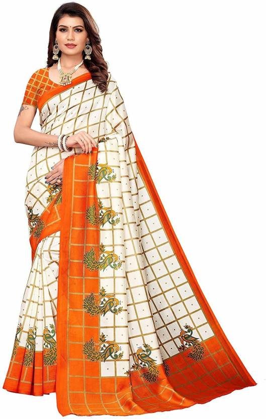 A To Z Cart Women'S Art Silk Printed Saree ( Pallu Mor Orange_Orange_Free Size )