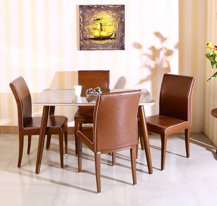 Parin Tempered Glass, Metal Legs Metal 4 Seater Dining Set Finish Color   Brown