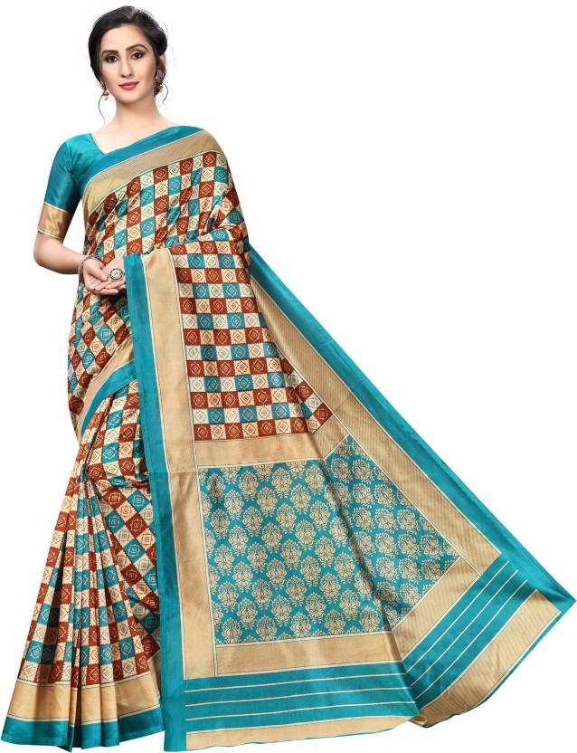 A to z-cart-women-s-art-silk-printed-saree(small-cheks-rama-rama-free-size )